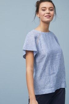 Blue/White Stripe Short Sleeve Linen Top