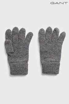 GANT Grey Knitted Wool Gloves
