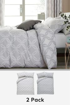 2 Pack Grey Reversible Luxe Geo Duvet Cover And Pillowcase Set