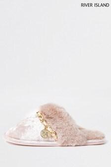 River Island Pink Light Velvet Chain Trim Slippers