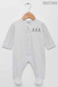 Trotters London Grey Marl Bunny All-In-One