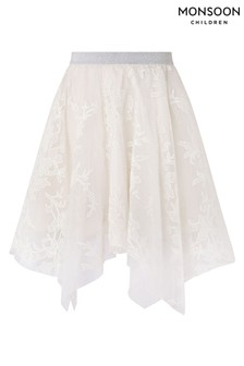 Monsoon Cream Princesa Sparkle Hanky Hem Skirt