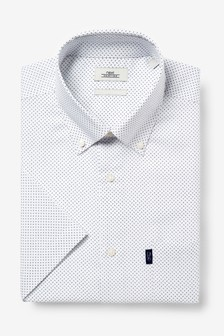 White Print Regular Fit Short Sleeve Easy Iron Button Down Oxford Shirt
