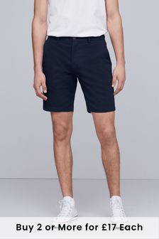 Navy Straight Fit Stretch Chino Shorts