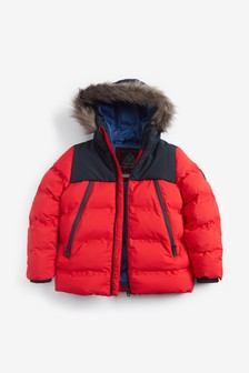 Red Faux Fur Trim Puffer Jacket (3-16yrs)