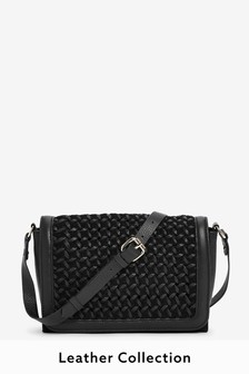 Black Leather Weave Front Across Body Bag