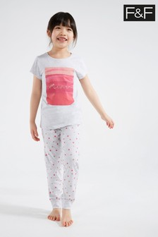 F&F Grey Marl Mini Heart Family Pyjamas