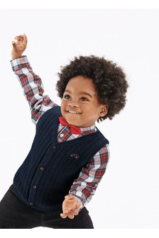 Navy Knitted Waistcoat, Shirt And Bow Tie Set (3mths-7yrs)