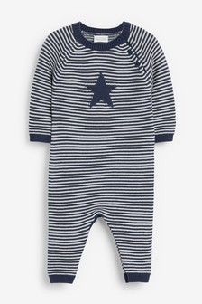 Blue Star Stripe Knitted Star Romper (0mths-2yrs)