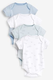 Pale Blue 4 Pack Organic Cotton Elephant Short Sleeve Bodysuits (0mths-3yrs)