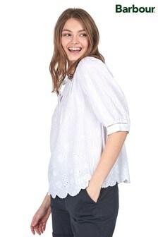 Barbour® Coastal White Linen Broderie Hem Filey Blouse