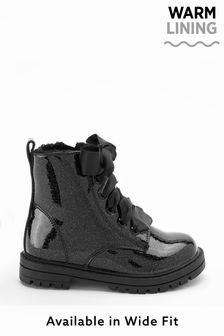 Black Patent Wide Fit (G) Warm Lined Lace-Up Boots