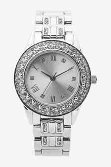 Silver Tone Sparkle Bracelet Watch