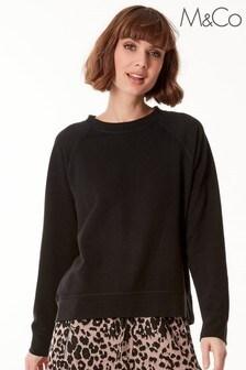 M&Co Black Crew Neck Raglan Sweatshirt