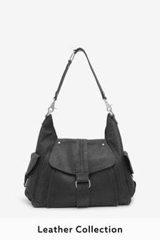 Black Leather Hardware Pocket Hobo Bag