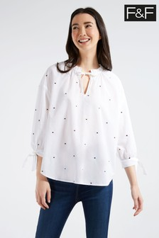 F&F Multi White Spot Popover Shirt