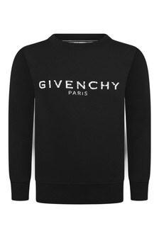 Boys Black Fleece Logo Sweater