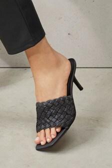 Black Signature Leather Weave Mules