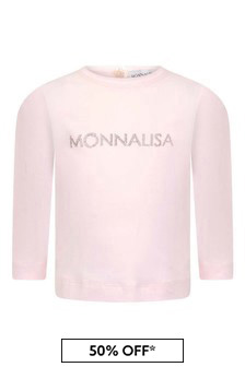 Baby Girls Pink Cotton Long Sleeve Logo T-Shirt