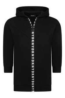 Girls Black Long Zip-Up Top