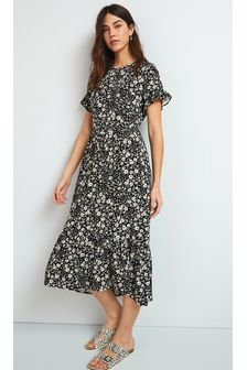 Monochrome Floral Midi Dress