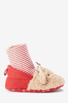 Reindeer Pram Sock Booties (0-18mths)