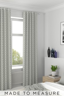 Luxe Embroidered Ogee Linen NaturalMade To Measure Curtains
