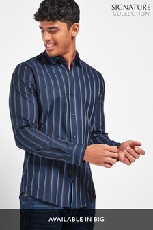 Navy Jacquard Stripe Long Sleeve Shirt