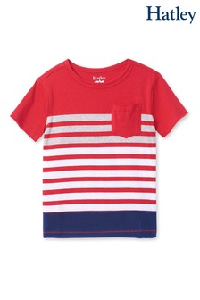 Hatley Red Sunset Stripe Graphic Front Pocket T-Shirt