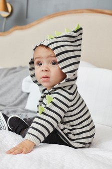 Monochrome Striped Dinosaur Knitted Cardigan (0mths-2yrs)