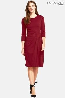 HotSquash Burgundy Pleat Waist Dress