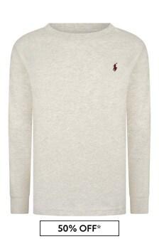 Boys Oatmeal Cotton Long Sleeve T-Shirt
