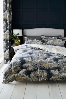 200 Thread Count Cotton Sateen Revrsible Metallic Leaf Duvet Cover And Pillowcase Set