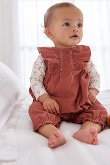 Pink Cord Dungarees with Ribbed Jersey Bodysuit (0mths-2yrs)