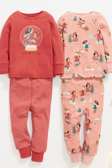 Red/Rust 2 Pack Snow Globe Girl Snuggle Pyjamas (9mths-12yrs)