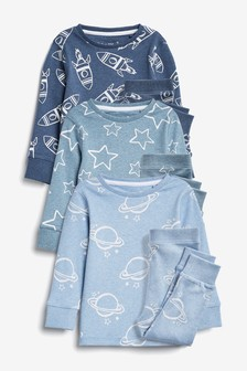 Blue 3 Pack Organic Rocket Snuggle Pyjamas (9mths-6yrs)