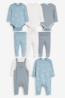 White/Blue Organic Cotton 8 Piece Set (0mths-2yrs)