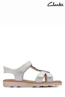 Clarks White Leather Crown Flower K Sandals