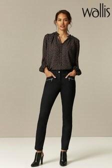 Wallis Petite Black Tinseltown Fly Front Jeans