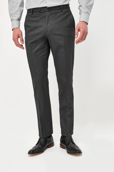 Charcoal Regular Fit Trousers With Stretch