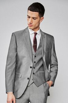 Light Grey Slim Fit Two Button Suit: Jacket