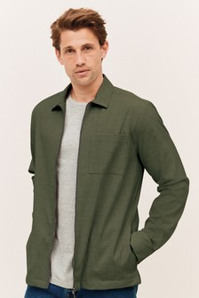Khaki Green Zip Shacket