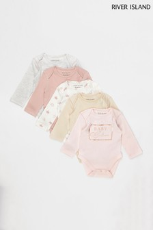 River Island Pink Light Girls 5 Pack Basic Babygrow