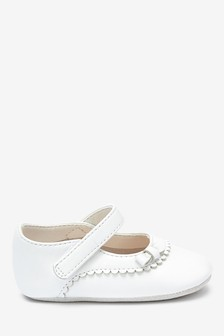 White Leather Mary Jane Pram Shoes (0-18mths)