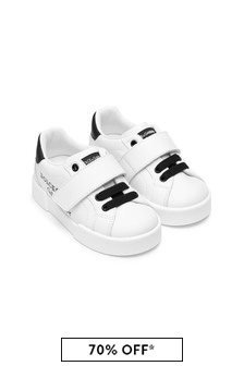 Dolce & Gabbana Kids Baby Girls White Leather Trainers