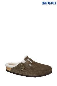 Birkenstock® Khaki Boston Shearling Clogs
