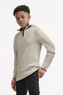 Grey Ripple Knitted Zip Neck Hoody (3-16yrs)