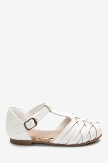 White Woven T-Bar Shoes