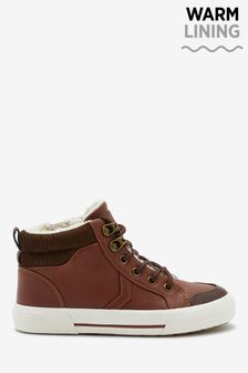 Chocolate Warm Lined Hiker Lace-Up Boots (Older)