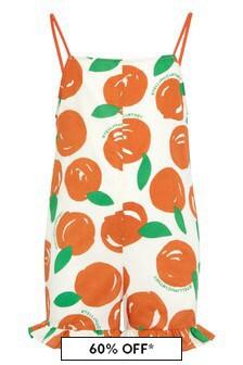 Girls Orange Cotton Playsuit